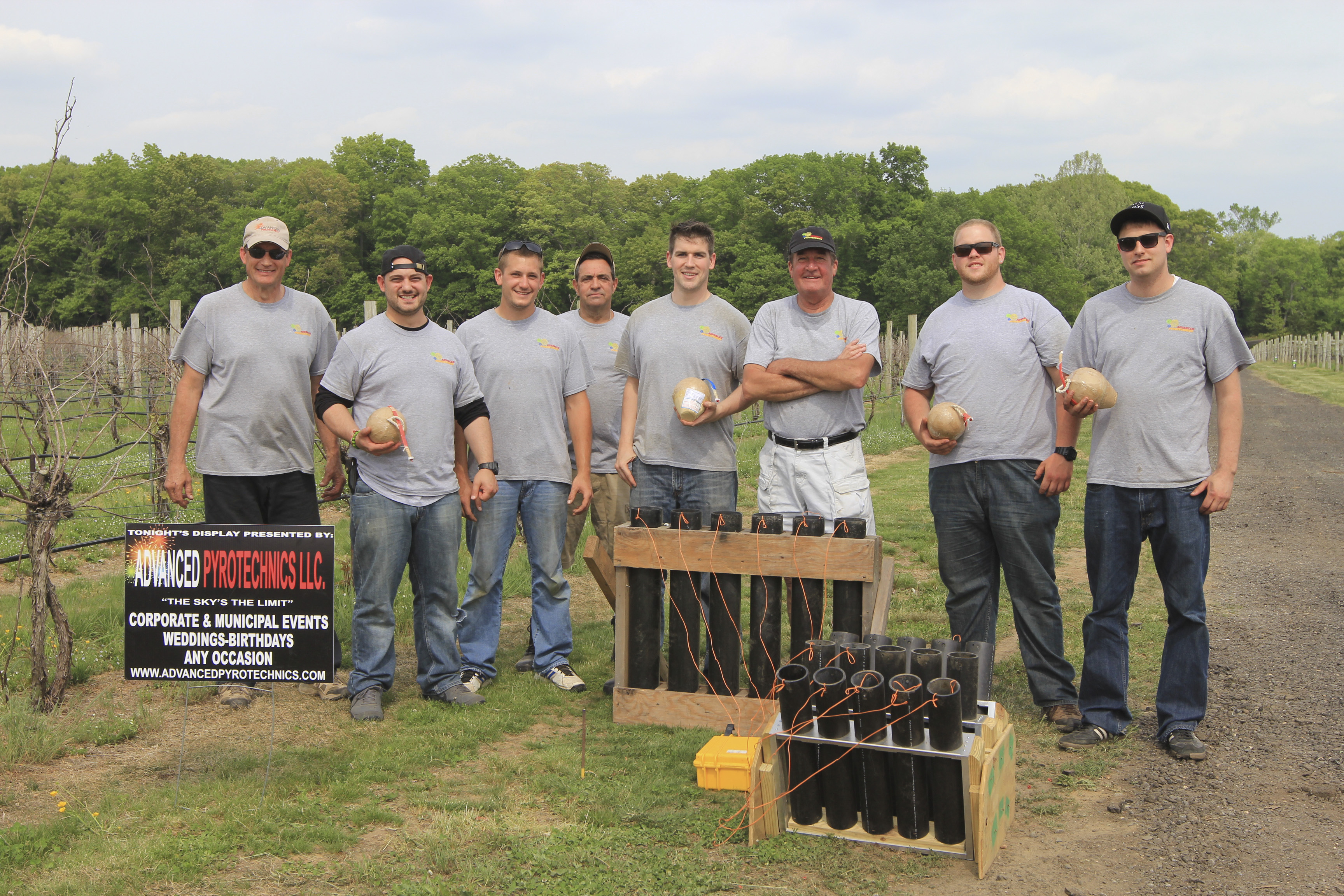 The crew of a New Jersey fireworks company sets up for a PA wedding fireworks show.