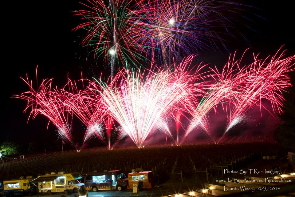 A fireworks company puts on a New Jersey fireworks show with big bright red fireworks in the sky.