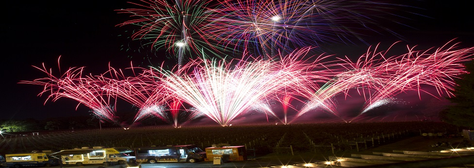 A vibrant red fireworks front is created at Laurita Winery by a New Jersey fireworks company for a pyromusical.